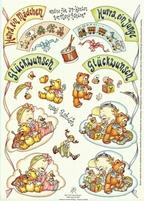 A4 Knipvel Marij Rahder 2002 Draaikaart Baby/Gefeliciteerd