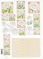 A4 Knipvel Marij Rahder 2434 Bloemen/witte rozen