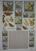 A4 Knipvel Marij Rahder 2432 Vlinders op hortensia