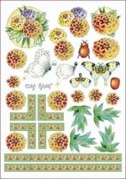 A4 Knipvel Marij Rahder 2576 Vlinder/bloem