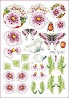 A4 Knipvel Marij Rahder 2574 Vlinder/bloem