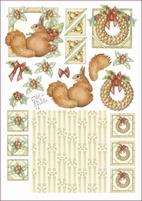 A4 Knipvel Marij Rahder 2455 Eekhoorn/kerstkrans