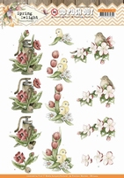 Marieke Spring Delight 3D Pushout SB10424 Red Flowers