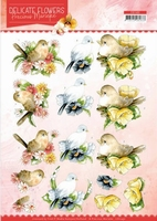 Marieke Delicate Flowers 3D Knipvel CD11491 Birds/vogels