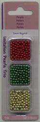 Trio ronde parels Rood - Groen - Goud
