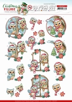 Yvonne Christmas Village 3D PushOut SB10475 Owls