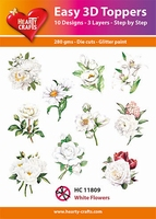 Hearty Crafts Easy 3D Toppers HC11809 Witte bloemen
