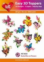 Hearty Crafts Easy 3D Toppers HC9233 Butterflies on Flowers