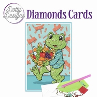 Dotty Designs Diamonds Cards DDDC1008 Get Well Frog - kikker
