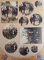 Card deco PushOut PO10004 Boerenpaarden