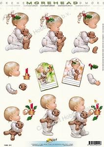 Morehead A4 Kerst Knipvel 011 Kindjes met knuffel