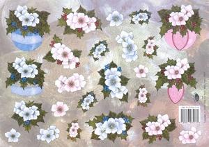 A4 Kerstknipvel Nel van Veen 2267 Roze /blauwe kerstbal