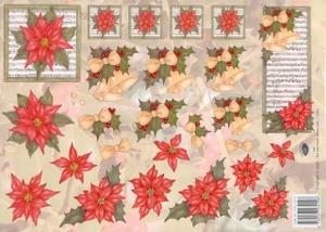 A4 Kerstknipvel Nel van Veen 2264 Rode kerstroos