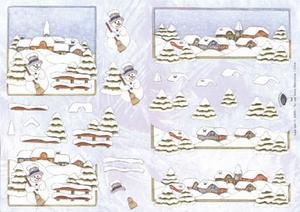 A4 Kerstknipvel Nel van Veen 2244 Sneeuwlandschap/man