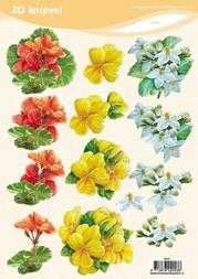 3D Knipvel VBK 2003 Bloemen rood/geel/wit