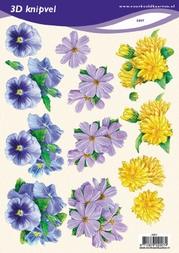 3D Knipvel VBK 2007 Bloemen geel/wit/blauw