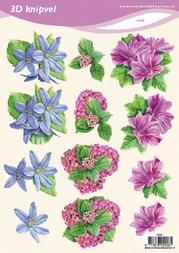3D Knipvel VBK 2008 Bloemen paars/blauw