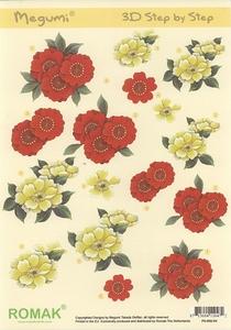 Stansvel Romak Megumi P0-001-04 Rode & witte bloemen