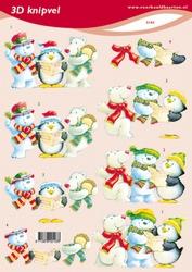3D Kerstknipvel VBK 2103 Sneeuwman/ijsbeer/pinguin