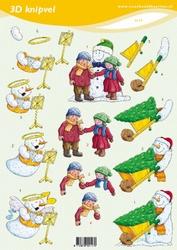 3D Knipvel VBK 2117 Kinderen met sneeuwman