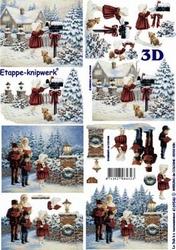 A4 Knipvel Le Suh 4169546 Winter meisje bij brievenbus