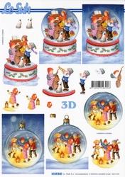 A4 Knipvel Le Suh Kerst 4169846 Kinderen spelen in glaze bol