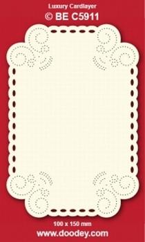 1 Doodey Luxe oplegkaart borduur BEC5911 hoekjes krul ovaal