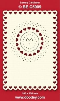 1 Doodey Luxe oplegkaart borduur BEC5909 hartjes in cirkel