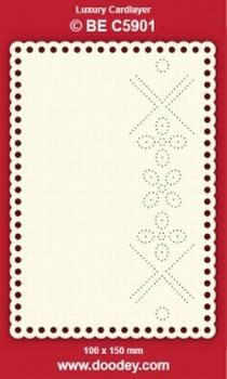 1 Doodey Luxe oplegkaart borduur BEC5901 bloemen rondje