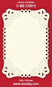 1 Doodey Luxe oplegkaart borduur BEC5913 hoekjes krul bloem