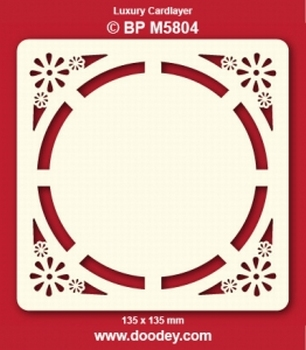 Doodey Luxe oplegkaart stans BPM5804 Cirkel bloem in hoekje