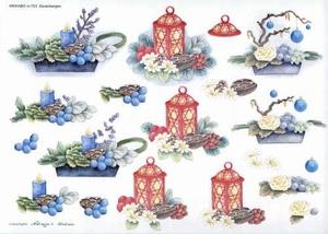A4 Kerstknipvel Wekabo 723 Kerststukjes rode lantaarn