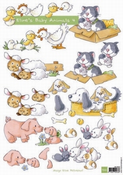 A4 Knipvel MD Eline AK0042 Baby Animals 4 Geboorte