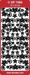 Kerst Stickervel Doodey Tansparant XP7089 Sterren Hoekjes