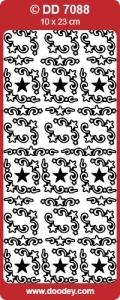 Kerst Stickervel Doodey DD7088 Sterren Ornament hoekje klein