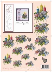 Ann's Paper Art 3D Stitching Sheets 10005 Kerststuk 3kaarsen