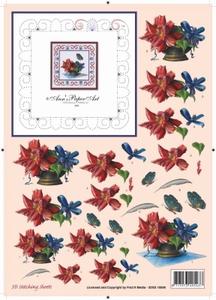 Ann's Paper Art 3D Stitching Sheets 10006 Bloemstukje Rood