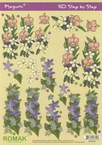 A4 Knipvel Megumi 38 Lila/roze en blauwe bloemen