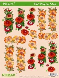 A4 Knipvel Megumi 42 Rood/oranje bloemen