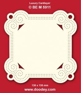 1 Doodey Luxe oplegkaart borduur BEM5911 vierkant / krul
