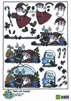A4 Kerstnipvel Marianne D Co7407 Corries Santa & friends