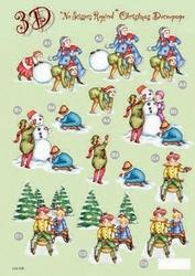 Line Kerststansvel 508 sneeuwpop slee kind