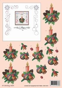 Ann's Paper Art 3D Stitching Sheets 10011 Kerststuk kaars