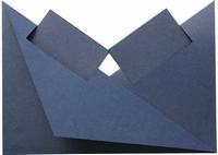 4 Neerzetkaart  Passe Partout vierkantjes donkerblauw