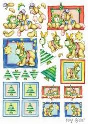 A4 Knipvel Marij Rahder 2622 Kerstbeer blauw