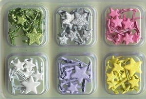 Scrap M Memories Shimmer Brads 30086 mini star spring