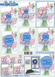 A4 Knipvel Le Suh Pyramide 630006 Boeket roze bloemen