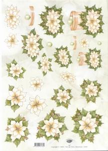 A4 Kerstknipvel Nel van Veen 2257 Kerstroos wit
