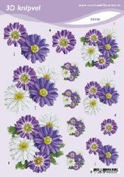 3D Knipvel A5 Voorbeeldkaarten 005 Bloemen lila/wit