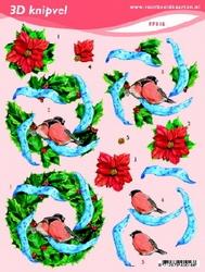 3D Knipvel A5 Voorbeeldkaarten 016 Kerst blauw lint
